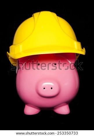 property development piggy bank cutout - stock photo