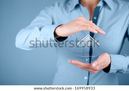Property insurance and security concept. Protecting gesture of woman and symbol of house.  - stock photo