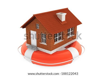 Property insurance concept. House in lifebuoy on a white background - stock photo
