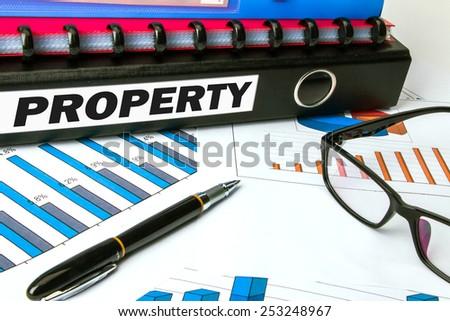property on business document folder - stock photo