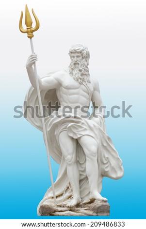 Proportion details Poseidon statue isolated on white blue gradient background venezia Thailand Park. - stock photo