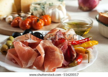 Prosciutto and olives served as antipasto, traditional italian appetizer - stock photo