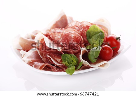 Prosciutto and salami - stock photo