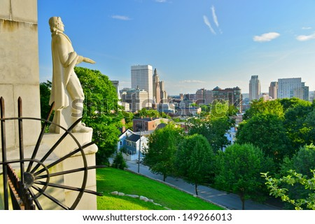 Prospect Terrace Park view of the Providence skyline and Roger Williams statue, Providence, Rhode Island, USA - stock photo