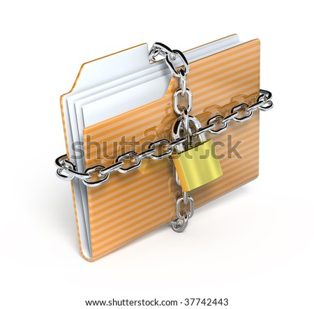 protect folder - 3d render icon - stock photo