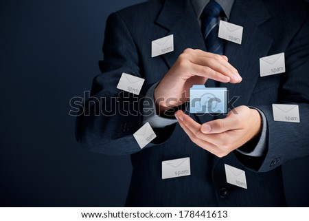 Protect mail against spam (junk mail) concept. Man with protective gesture, mail folder and spam in envelopes.  - stock photo