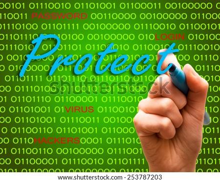 Protect password login virus hackers hand binary text - stock photo
