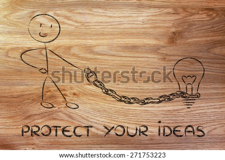 protect your intellectual property and copyright: character holding chained idea (lightbulb) on a leash - stock photo