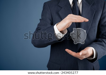 Protect your money (financial savings) and financial care (services) concept. Financial adviser (financial consultant) with protective gesture and piggy bank. - stock photo