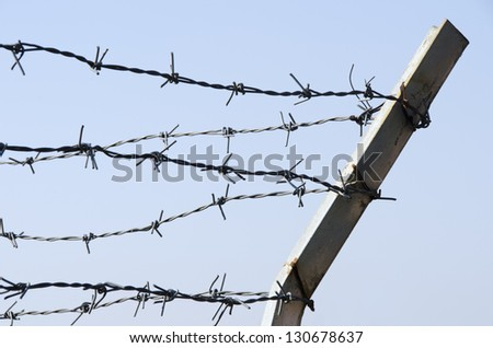 Protected fence with barbed wire on blue sky background - stock photo