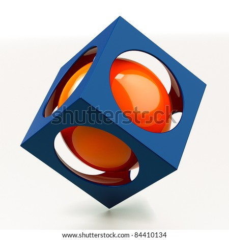 Protected red cphere in to a blue cube - stock photo