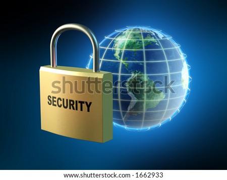 Protecting data streams around the world. Digital illustration. - stock photo