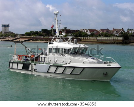 Protecting our shores a Naval patrol boat - stock photo