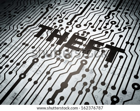 Protection concept: circuit board with  word Theft, 3d render - stock photo