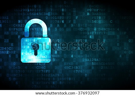 Protection concept: Closed Padlock on digital background - stock photo