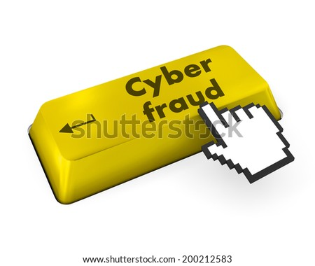 Protection concept: computer keyboard with Key icon and word Cyber Fraud on enter button background, 3d render - stock photo
