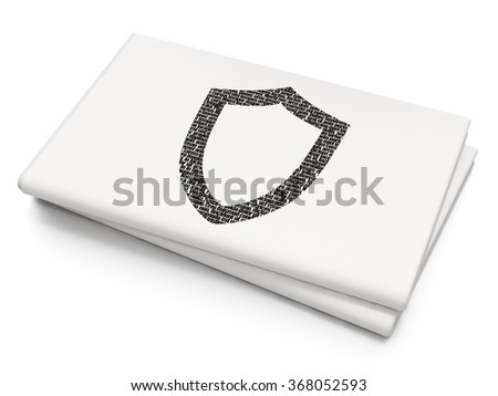 Protection concept: Contoured Shield on Blank Newspaper background - stock photo