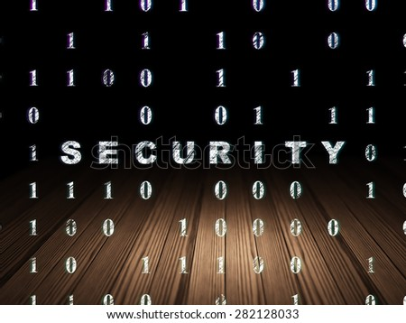 Protection concept: Glowing text Security in grunge dark room with Wooden Floor, black background with Binary Code, 3d render - stock photo