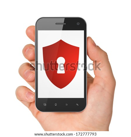 Protection concept: hand holding smartphone with Shield With Keyhole on display. Mobile smart phone on White background, 3d render - stock photo