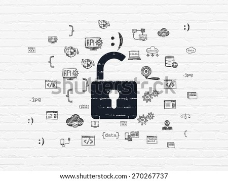 Protection concept: Painted black Opened Padlock icon on White Brick wall background with  Hand Drawn Programming Icons, 3d render - stock photo