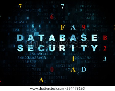 Protection concept: Pixelated blue text Database Security on Digital wall background with Hexadecimal Code, 3d render - stock photo
