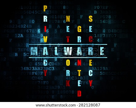 Protection concept: Pixelated blue word Malware in solving Crossword Puzzle on Digital background, 3d render - stock photo