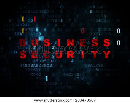 Protection concept: Pixelated red text Business Security on Digital wall background with Binary Code, 3d render - stock photo