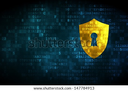 Protection concept: pixelated Shield With Keyhole icon on digital background, empty copyspace for card, text, advertising, 3d render - stock photo