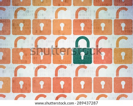 Protection concept: rows of Painted  opened padlock icons around green closed padlock icon on Digital Paper background - stock photo