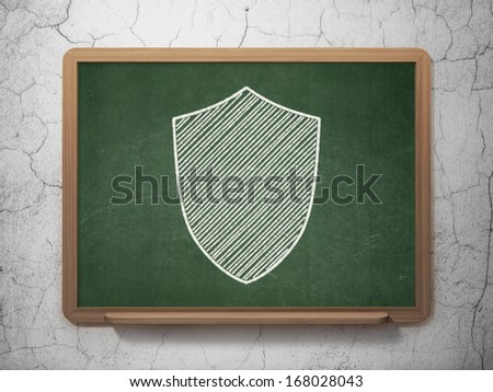 Protection concept: Shield icon on Green chalkboard on grunge wall background, 3d render - stock photo