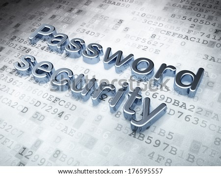 Protection concept: Silver Password Security on digital background, 3d render - stock photo