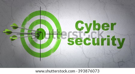 Protection concept: target and Cyber Security on wall background - stock photo
