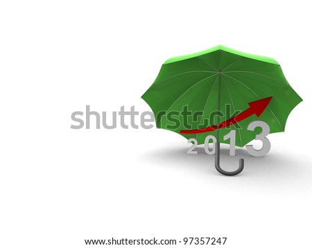 Protection on graph. 3d render illustration - stock photo