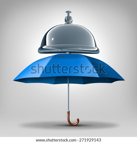 Protection services concept as a blue umbrella with a service bell as a symbol and icon for providing safety and security assistance as health benefits or business guarantees. - stock photo