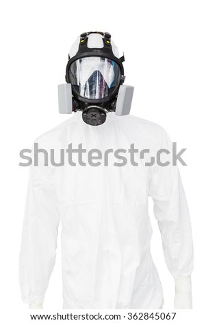 protective clothing and a gasmask on a white background - stock photo