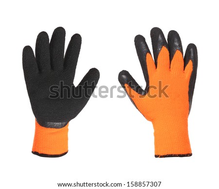 Protective gloves orange and black on a white background - stock photo