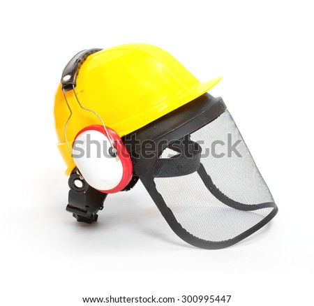 Protective helmet, earmuffs and face shield isolated on white background. Protection for lumberjacks, carpenters and construction workers. - stock photo