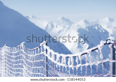 protective net to the alpine skiing track - stock photo