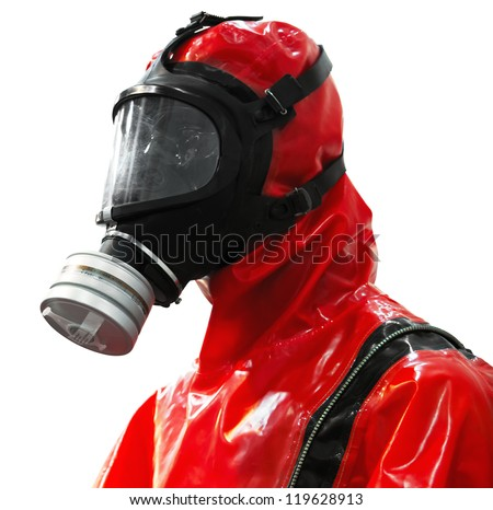 Protective suite with mask isolated. Clipping path included. - stock photo