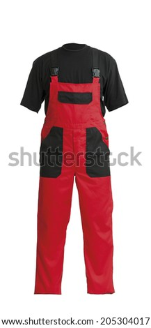 Protective worker's red overall and black t-shirt, isolated on white background - stock photo
