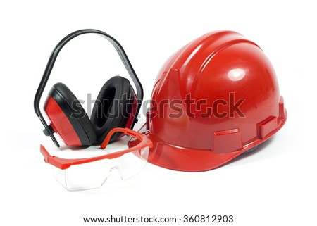 Protective Workwear- Red Safety Helmet, Transparent Goggles With Red Frame And Earmuffs Isolated On White Background  - stock photo