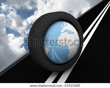 Protector with planet Earth on the asphalt. 3D - stock photo