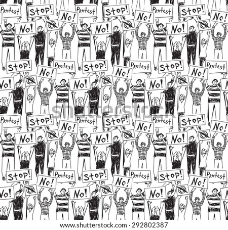 Protest demonstration group people seamless pattern black and white Crowd of protest people. Monochrome seamless pattern. - stock photo