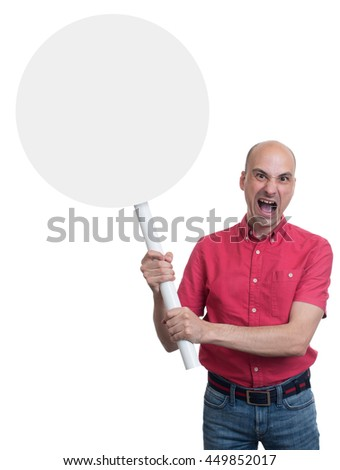 Protesting angry man with placard. Isolated on white background - stock photo