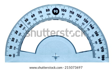 Protractor isolated on white. Clipping path included. - stock photo