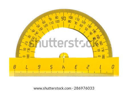Protractor ruler isolated on white background - stock photo