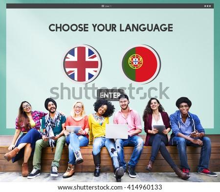 Protugal English Communication Language Concept - stock photo