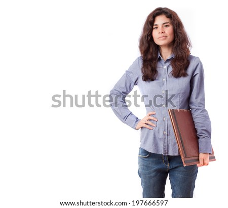 Proud employee holding a folder - stock photo
