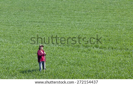 Proud old farmer standing in green wheat field in spring time and looking ahead - stock photo