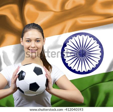 Proud woman football fan of India - stock photo